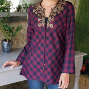 Soft Surroundings Webster Plaid Top